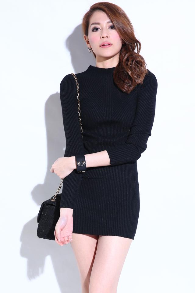 (BACKORDER) Aerin Knit Bodycon Dress in Black