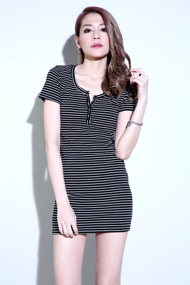 (BACKORDER) Round Neck Basic Dress in Stripes
