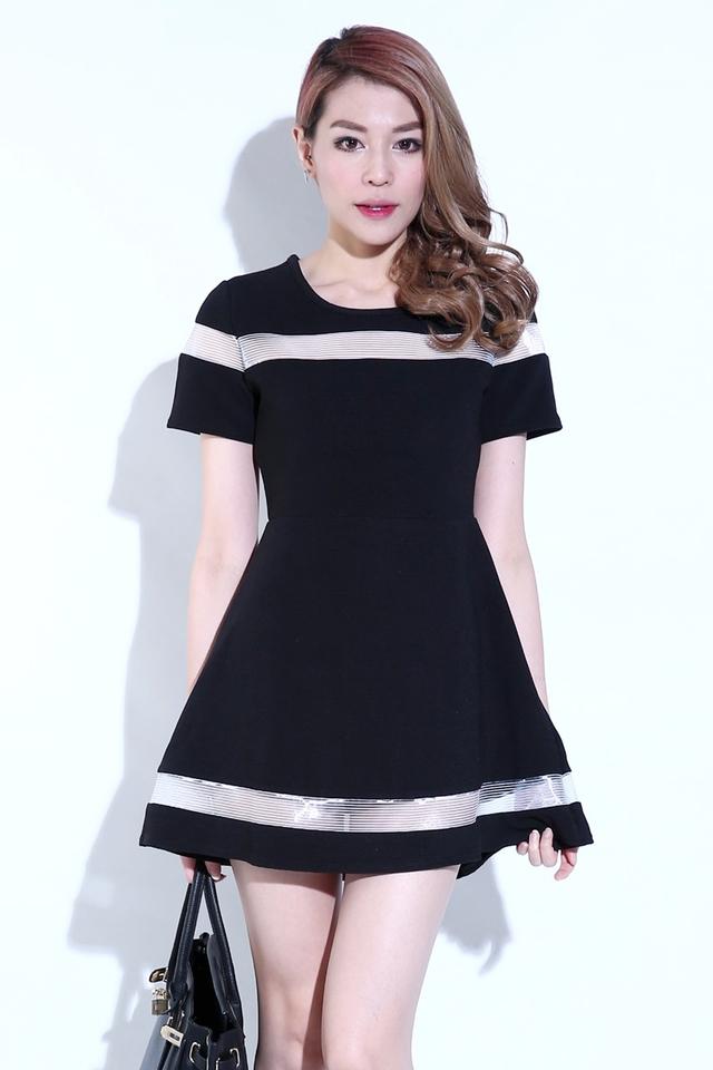(BACKORDER) Mesh Details Dress in Black