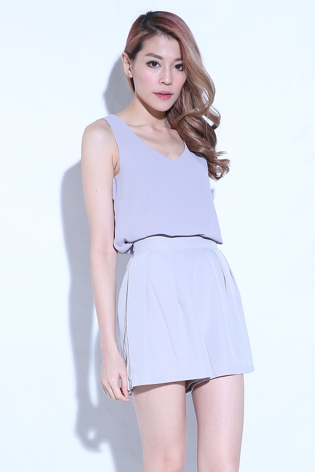 (BACKORDER) Double Layer Chiffon Top in Grey