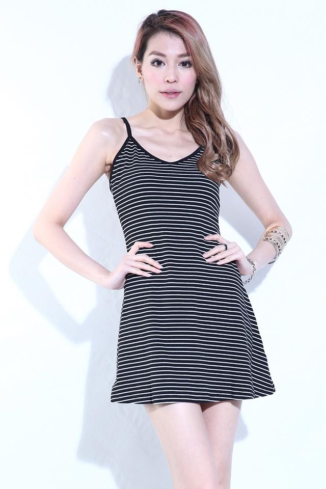 (BACKORDER)  Weekend Stripy Dress in Black
