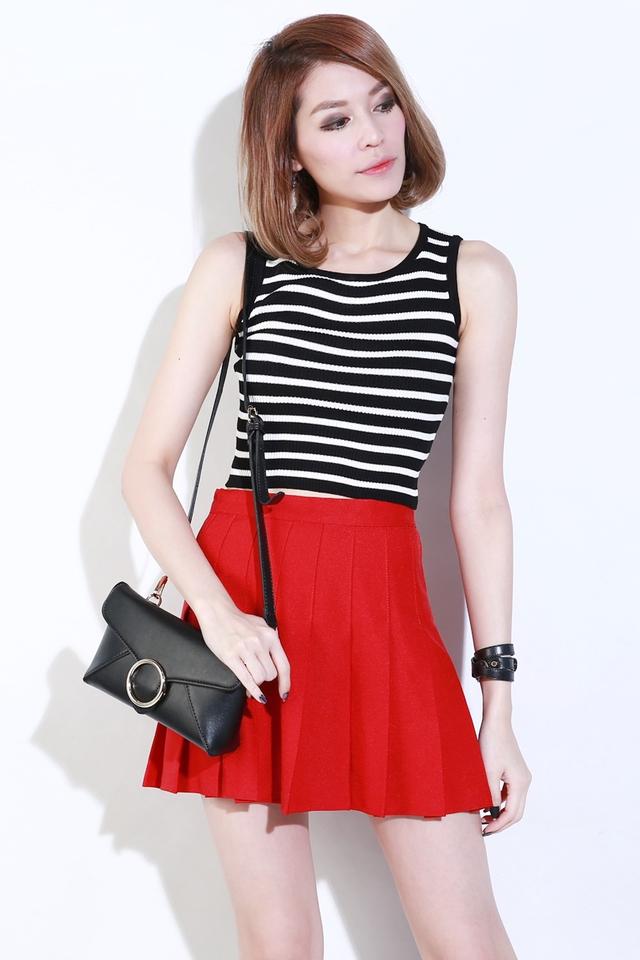 BACKORDER - Elle Basic Knit Top in Black White Stripes(Thin Stripes)