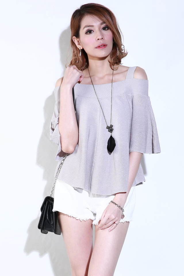 SG IN STOCK - KASSIE KNIT TOP IN LIGHT GREY