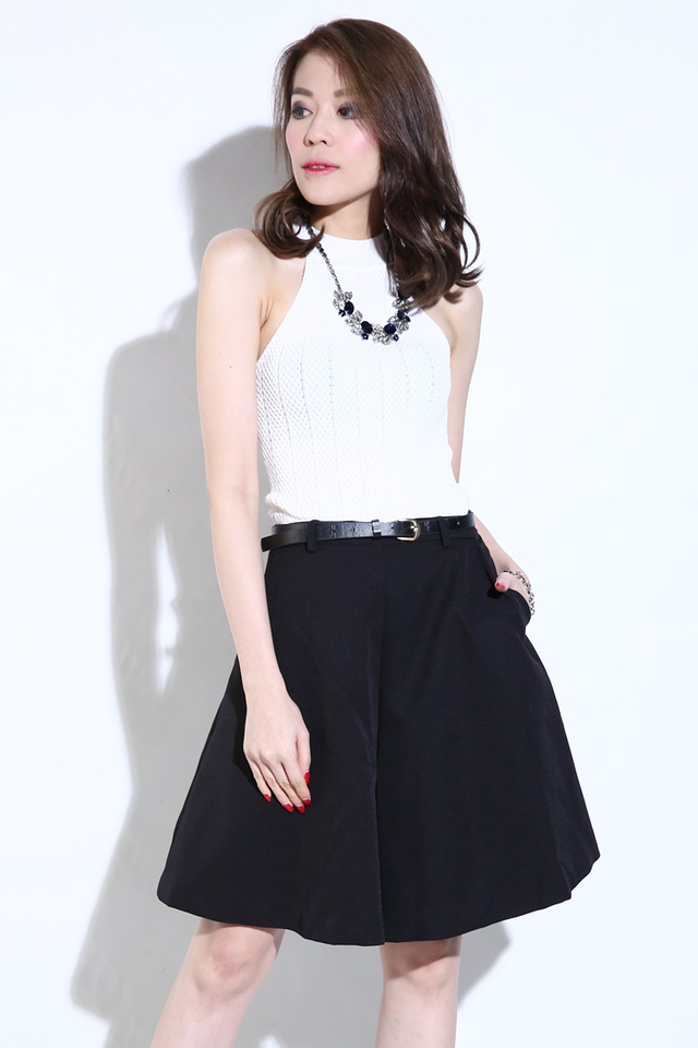 (BACKORDER) Ethan High Neck Knit Top in White