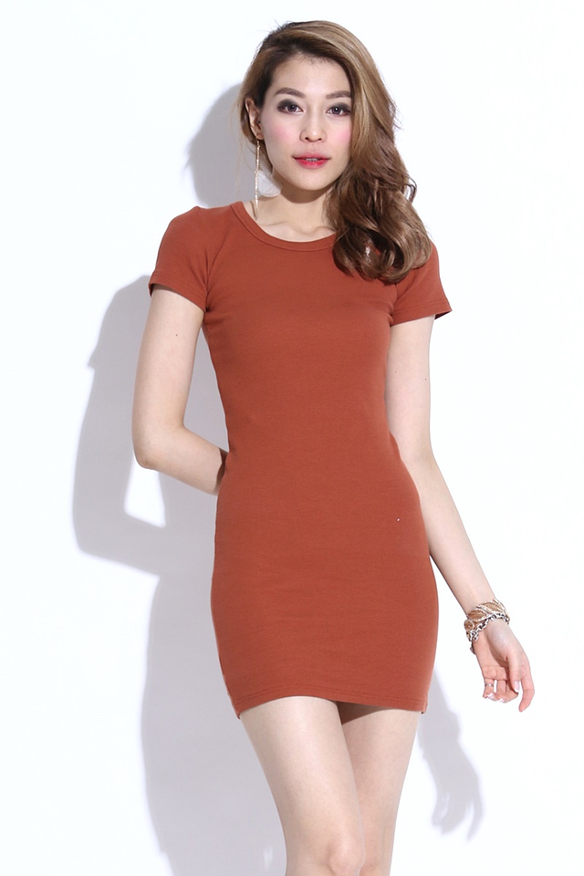 BACKORDER - MELOVE BASIC DRESS IN BROWN