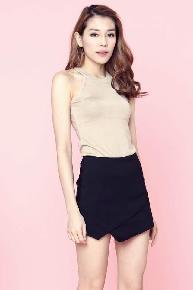 (BACKORDER)  Jace Round Neck knit Top in Brown