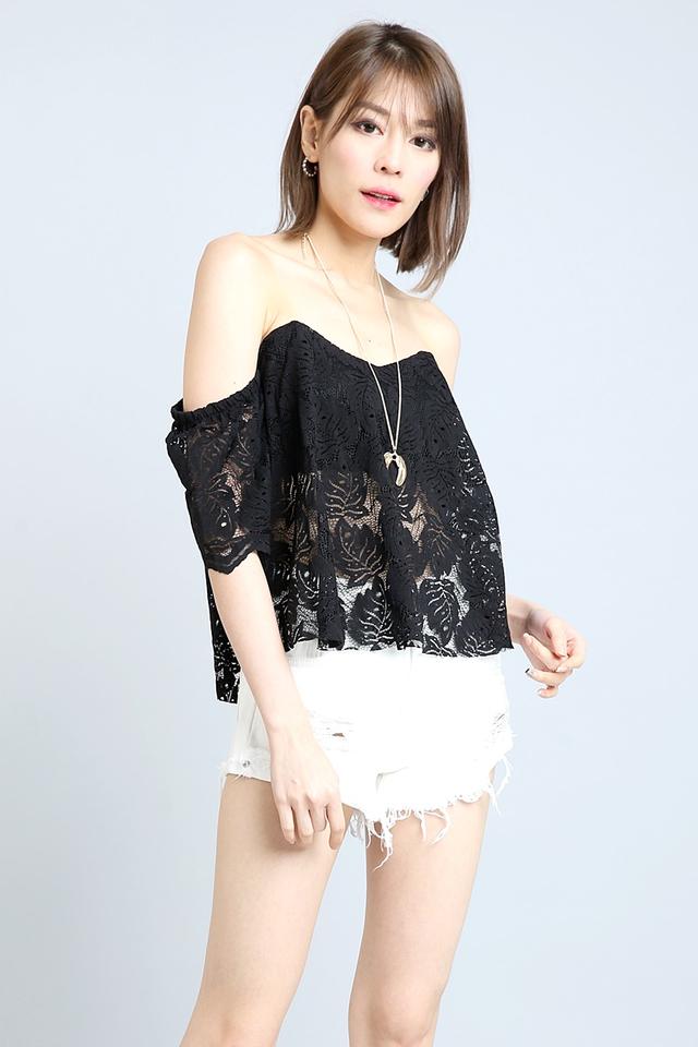BACKORDER  - Cahya Off Shoulder Lace Top in Black