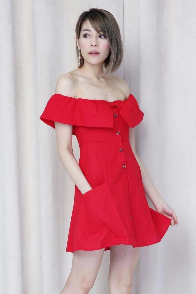 BACKORDER - WELDON OFF SHOULDER DRESS IN RED