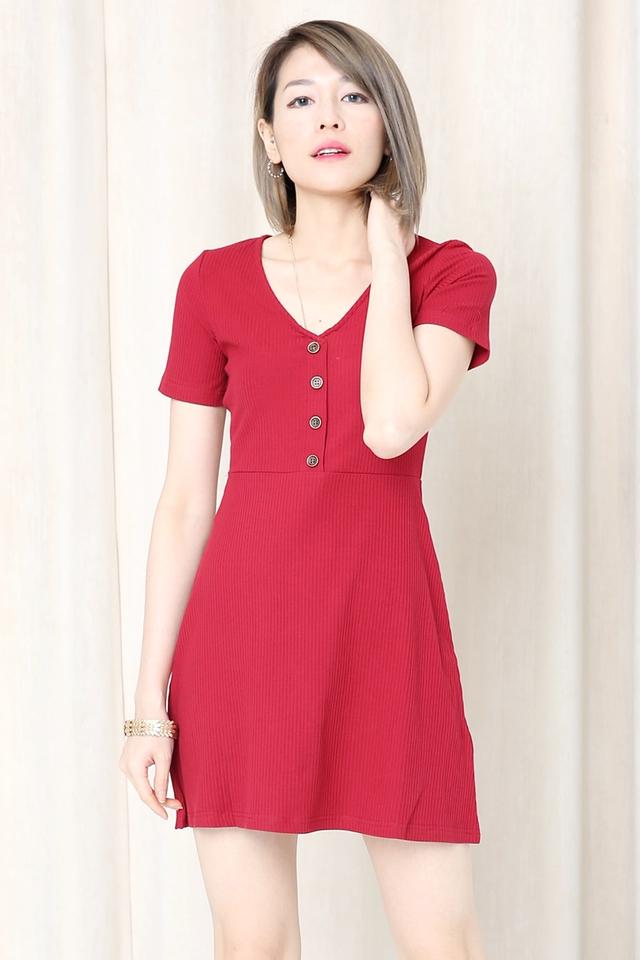 BACKORDER - Clinton Knit Dress in Dark Red