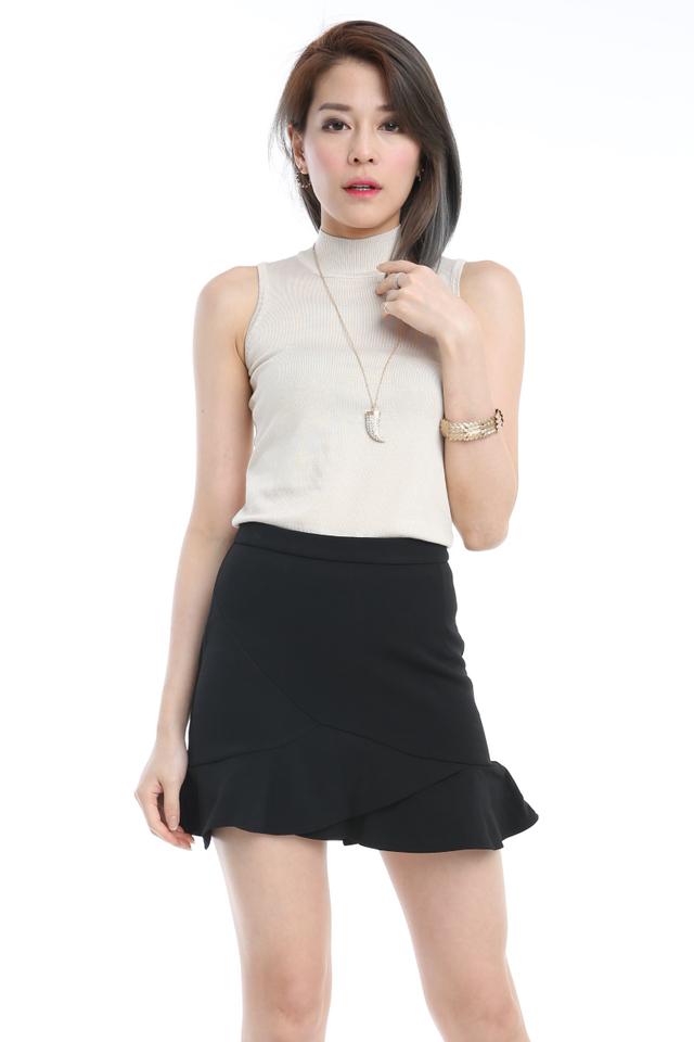 BACKORDER- Sleeveless Knit Top in Light Beigh