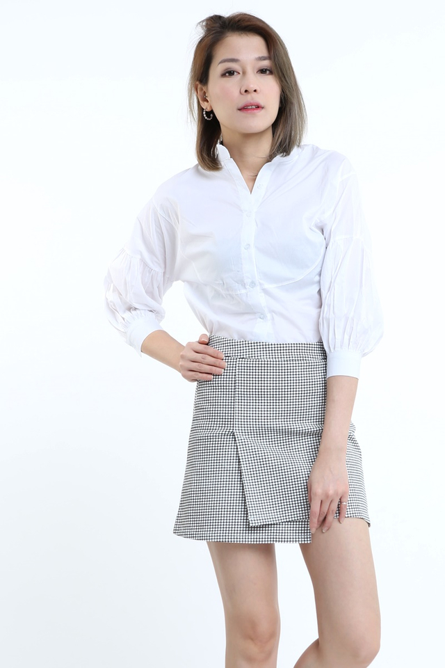BACKORDER - BUBBLE SLEEVE BLOUSE IN WHITE