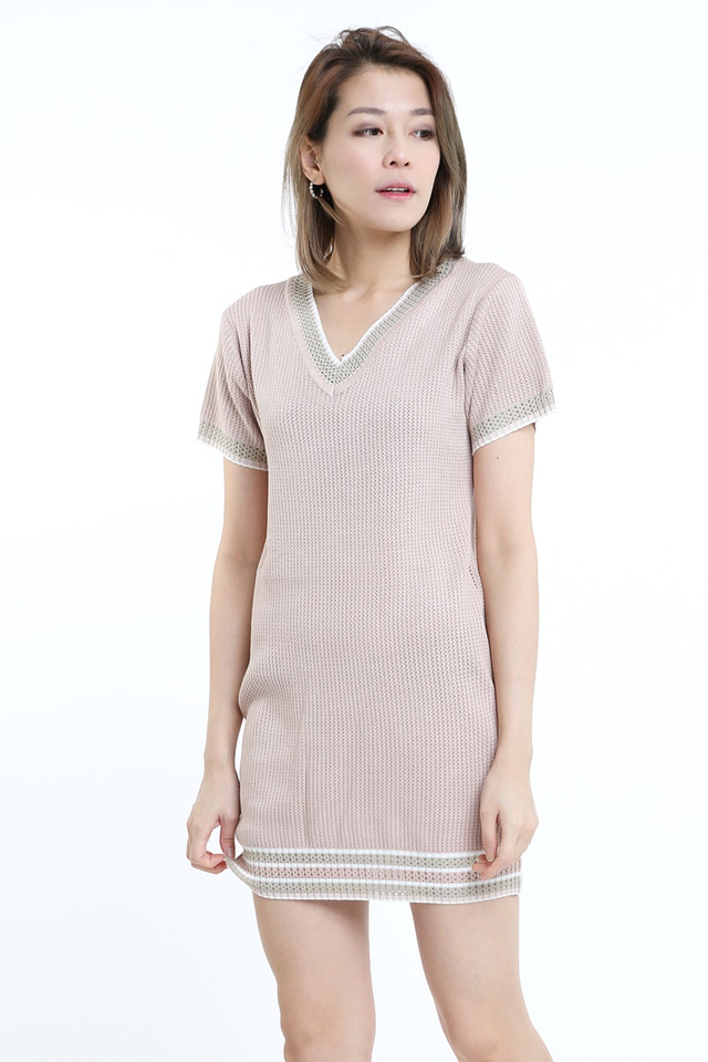 BACKORDER - FAITH KNIT DRESS IN BROWN PINK