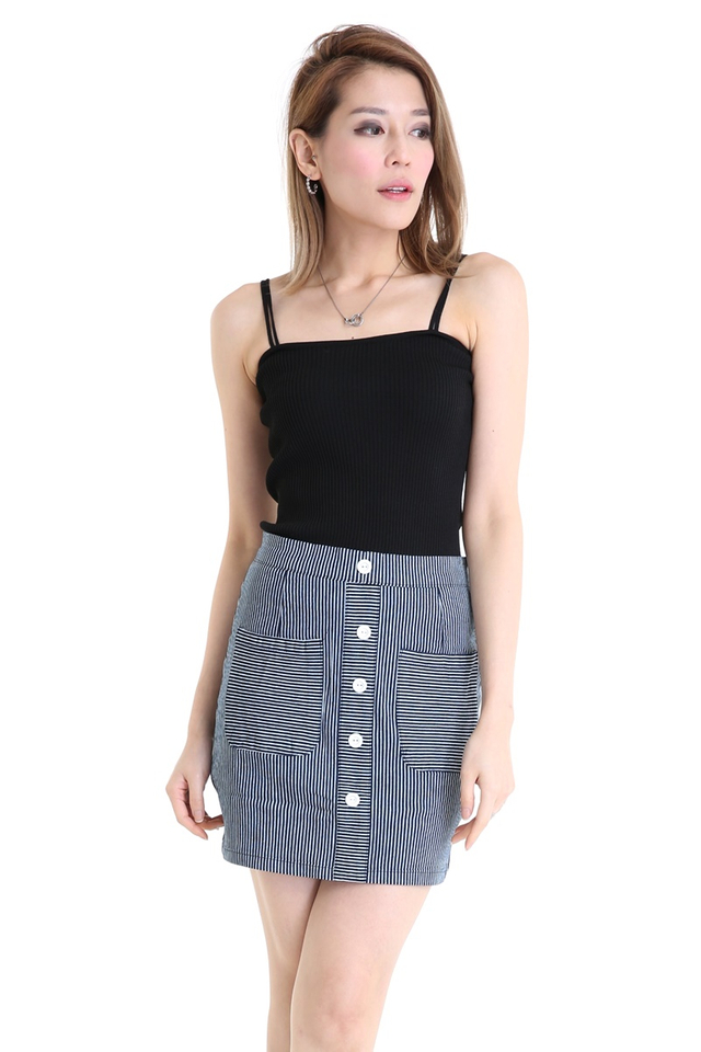 BACKORDER- DUO STRAP BASIC KNIT TOP IN BLACK