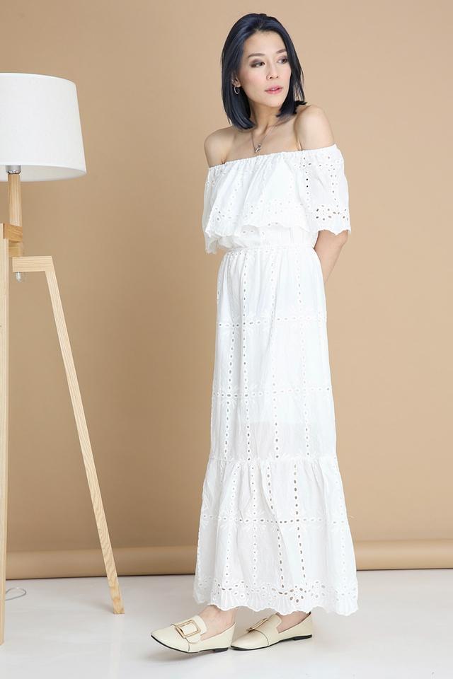 BACKORDER - FAIRY CROCHET LONG DRESS IN WHITE
