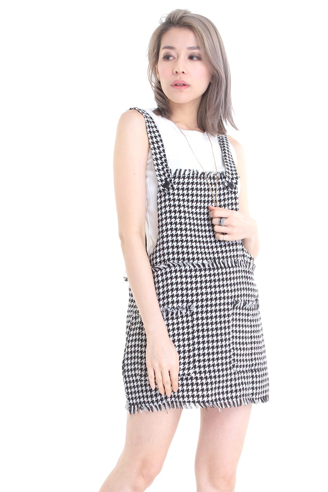 IN STOCK -BLACK BEIGH PRINTED PINAFORE