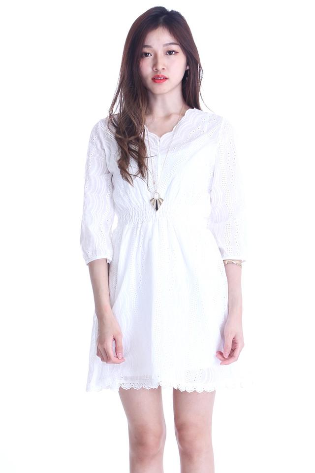 IN STOCK - ELAINA CROCHET DRESS IN WHITE
