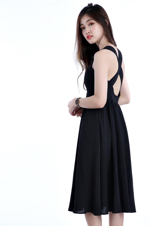 BACKORDER - CECY CROSS BACK DRESS IN BLACK