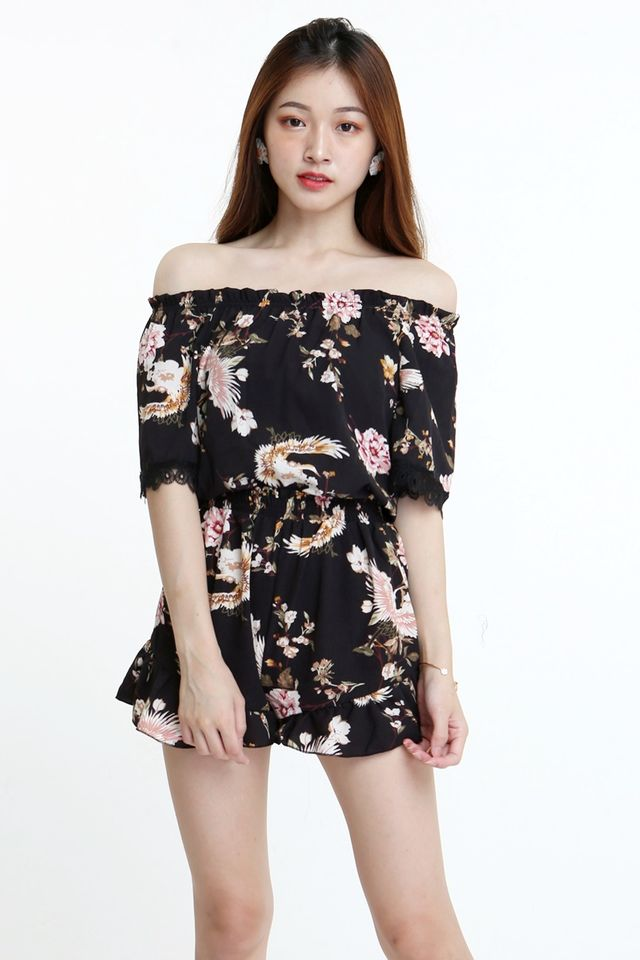 SG IN STOCK - GERARD FLORAL TOP AND PANTS SET IN BLACK