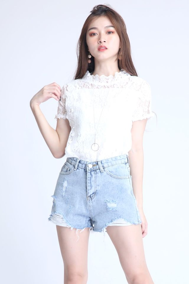 IN STOCK -GEM LACE TOP IN WHITE