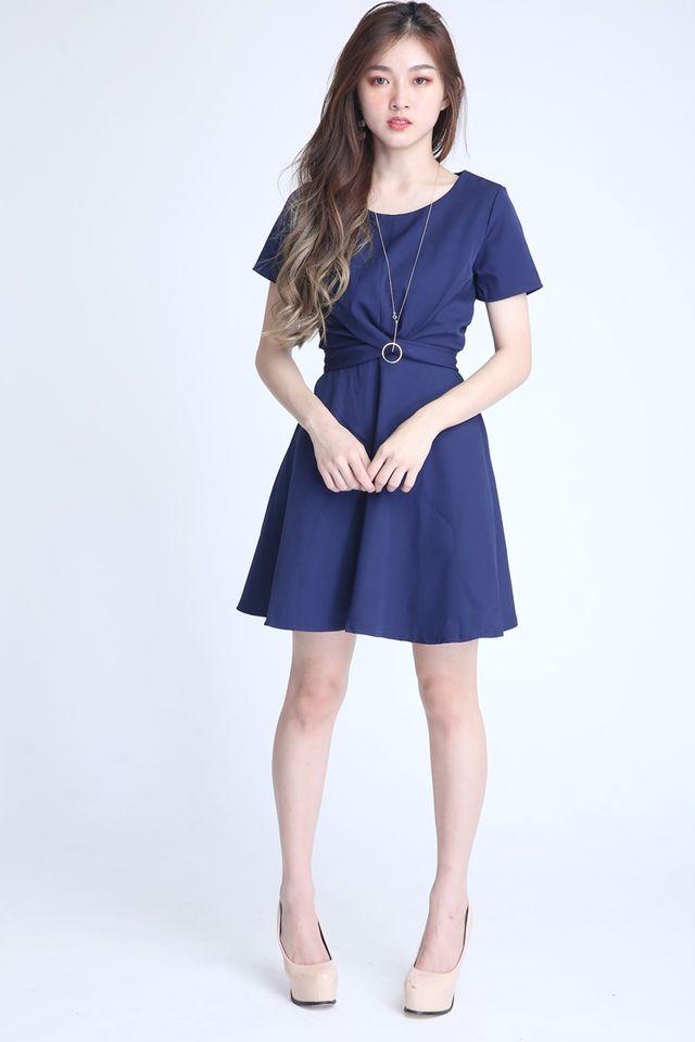 PREORDER - PAULINE CROSS TIE DRESS IN BLUE