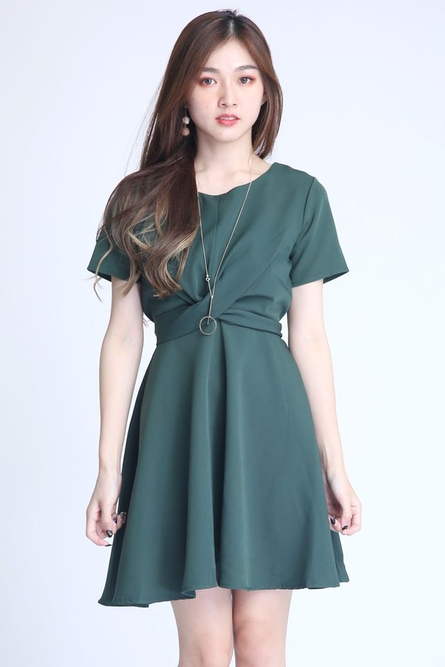 PREORDER   -PAULINE CROSS TIE DRESS IN GREEN