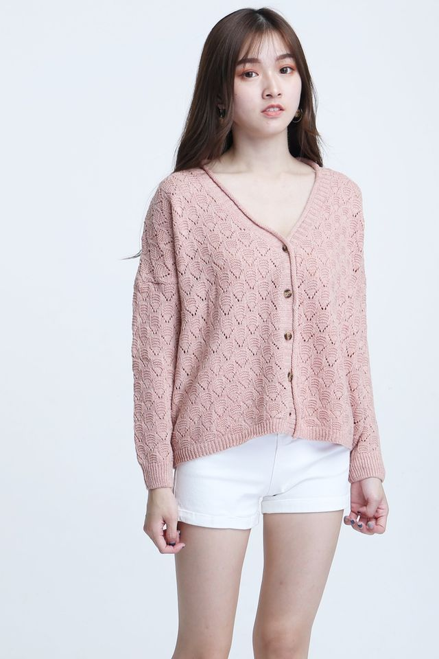 SG IN STOCK - GELON KNIT CARDIGAN IN PINK