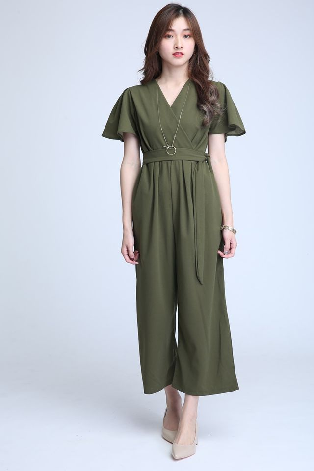 BACKORDER - HALEY JUMPSUIT IN MILITARY GREEN
