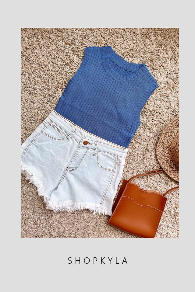 SG IN STOCK - TERRY KNIT TOP IN BLUE