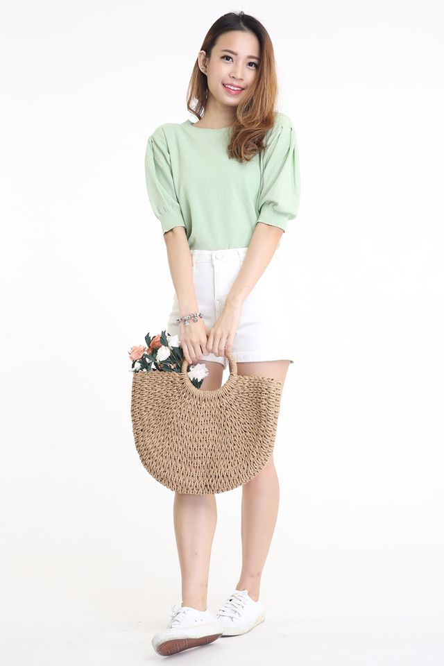 IN STOCK - RATTAN STRAW BAG IN BROWN