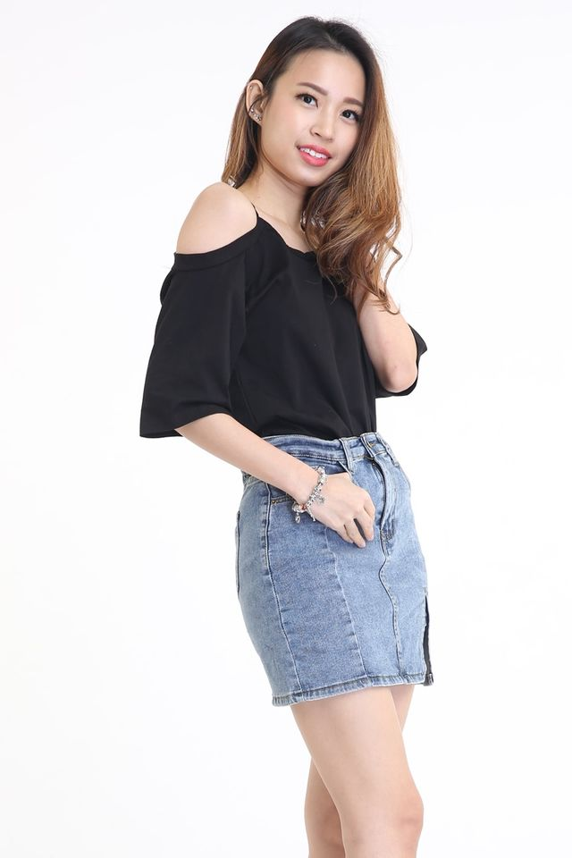 IN STOCK -AUSTINE CUT OFF SHOULDER TOP IN BLACK