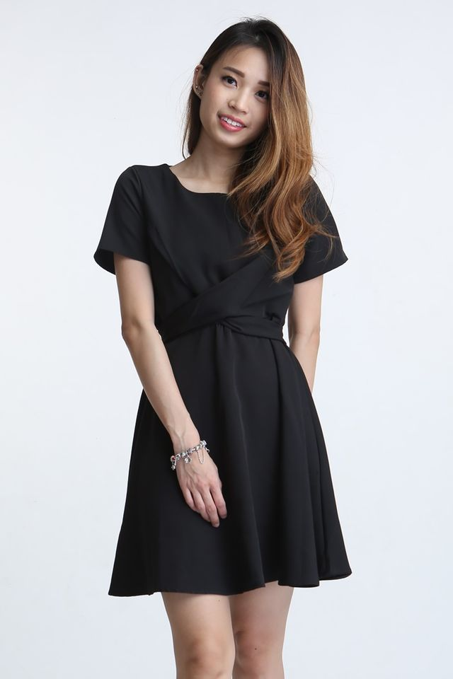 PREORDER- PAULINE CROSS TIE DRESS IN BLACK