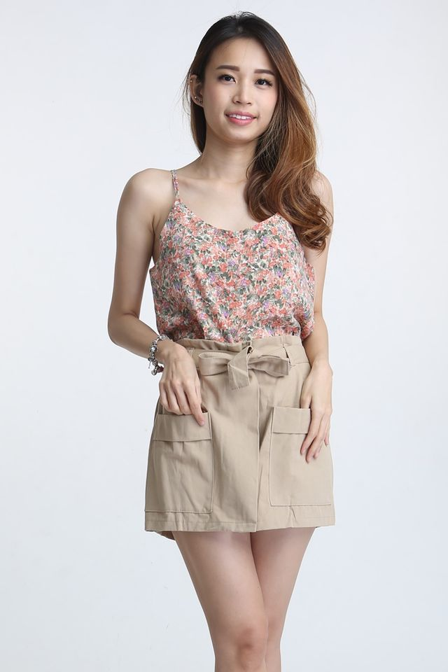 PREORDER- ETTORE RIBBON BELTED SHORTS IN BROWN