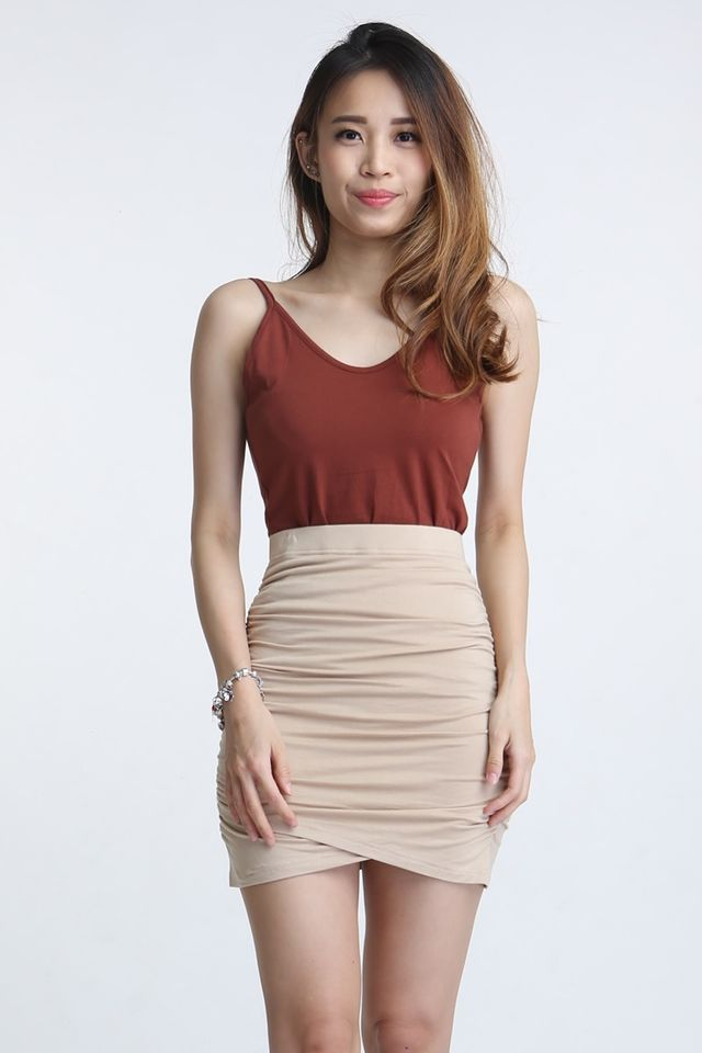SG IN STOCK - ANETTE RUCHES SKIRT IN BEIGH