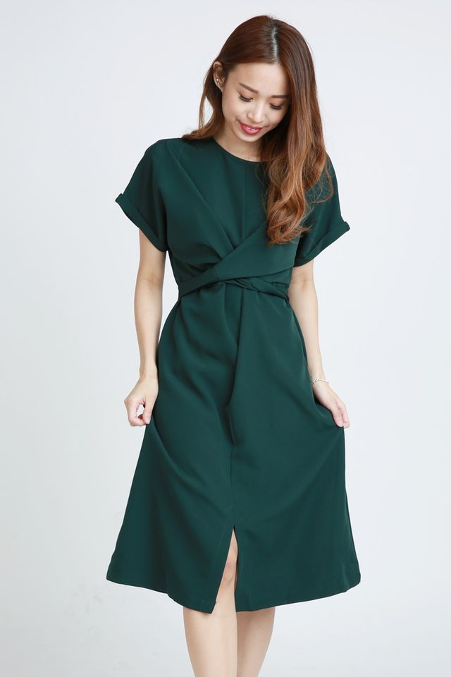 PREORDER - SONNY TIE WAIST  DRESS IN GREEN