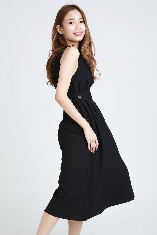 PREORDER - HANALE PLEATED DRESS IN BLACK
