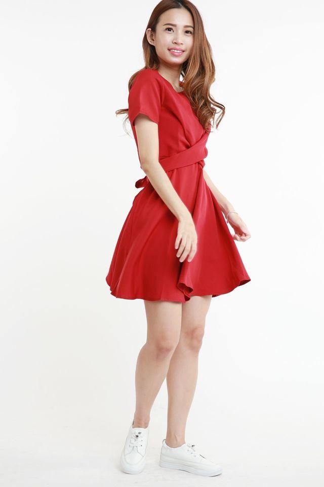 PREORDER- PAULINE CROSS TIE DRESS IN MAROON RED