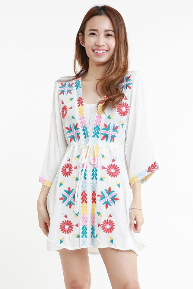PREORDER - ADLEY EMBROIDERY DRESS IN WHITE