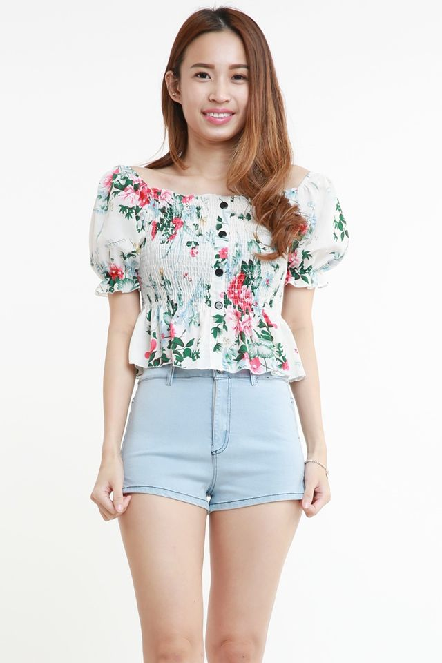 IN STOCK - CELESTE FLORAL TOP IN WHITE