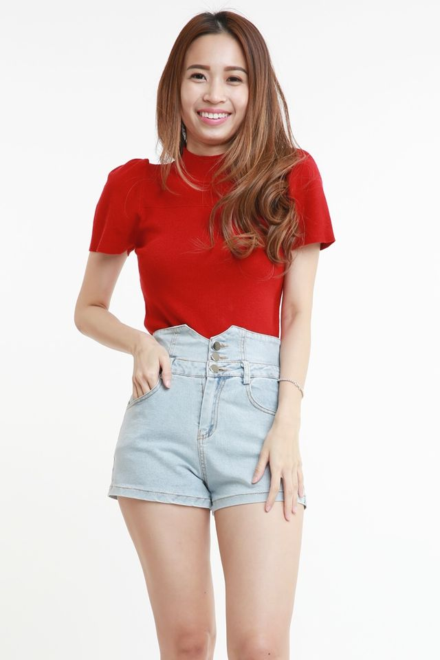 PREORDER - DELA KNIT TOP IN RED