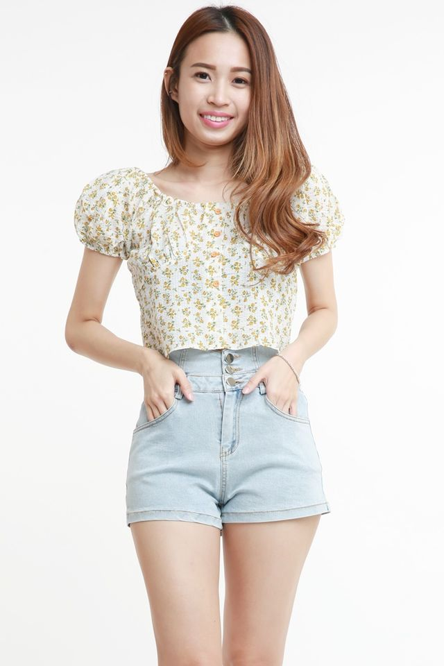 IN STOCK -  RAVENNE FLORAL TOP IN YELLOW