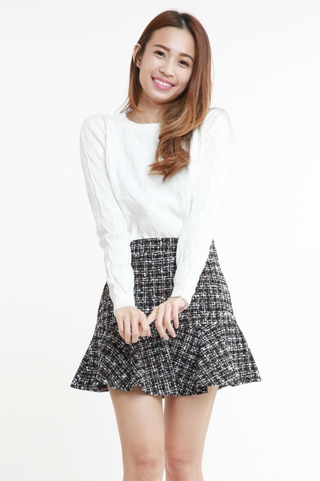 SG IN STOCK -  KERES TWEED SKIRT IN BLACK