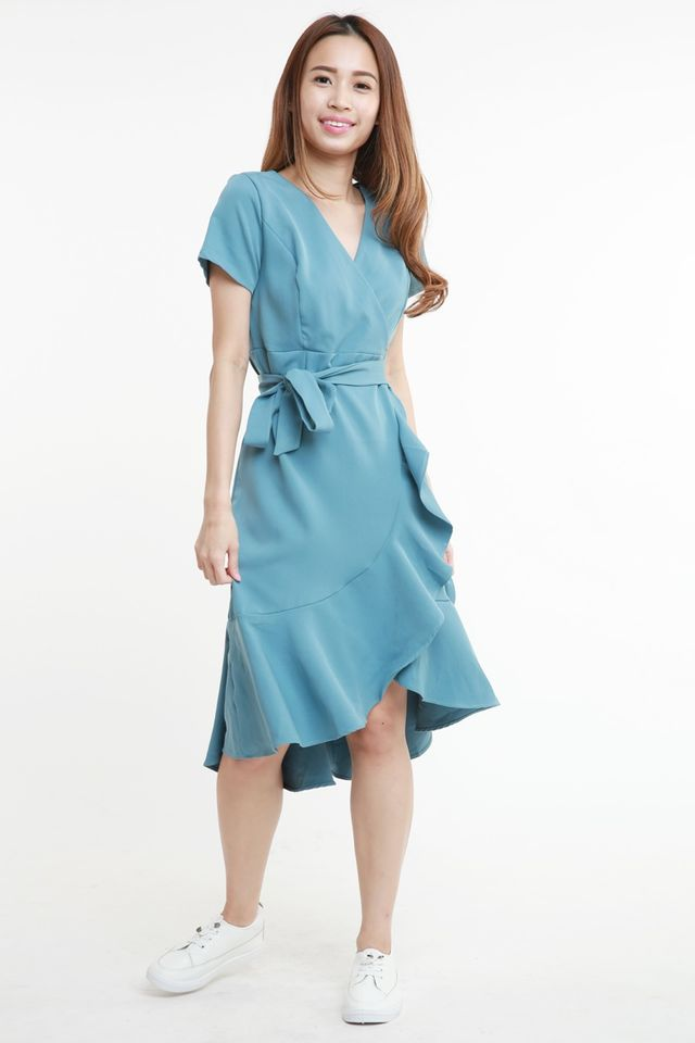 SG IN STOCK -  BESS SASH BELT MIDI DRESS IN LIGHT BLUE