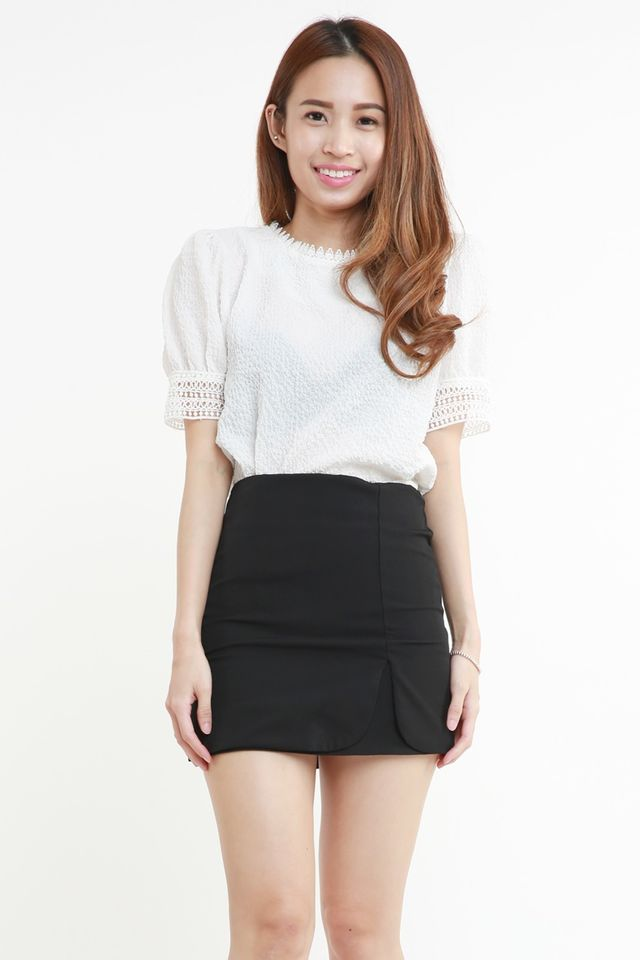 PREORDER-BRYDI LACE TRIM TOP IN WHITE