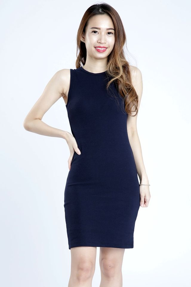 PREORDER - DALTON SLEEVELESS BODYCON DRESS IN NAVY