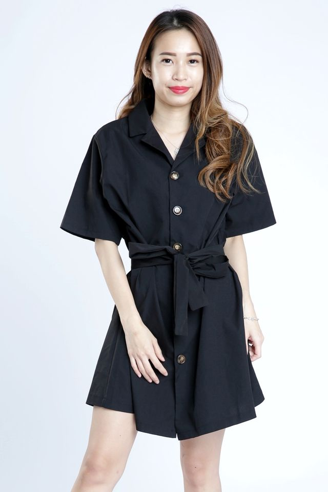 SG IN STOCK - KINSLEE BUTTON DOWN DRESS + SASH BELT IN BLACK