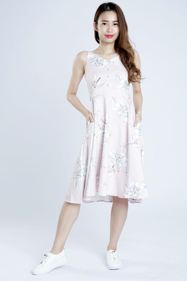 PREORDER - EDGAR FLORAL MIDI DRESS IN PINK