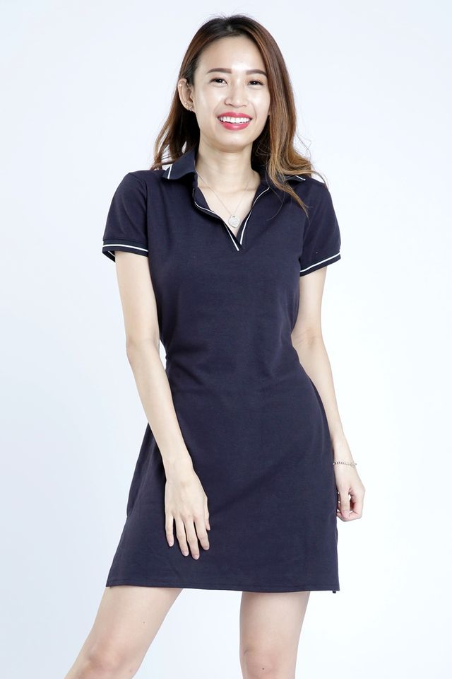 SG IN STOCK - YUMI POLO COLLAR DRESS IN NAVY