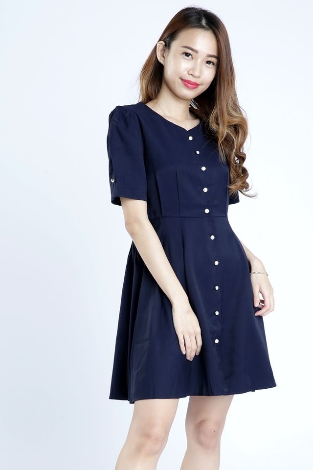 SG IN STOCK - CARVER BUTTON DOWN DRESS IN NAVY
