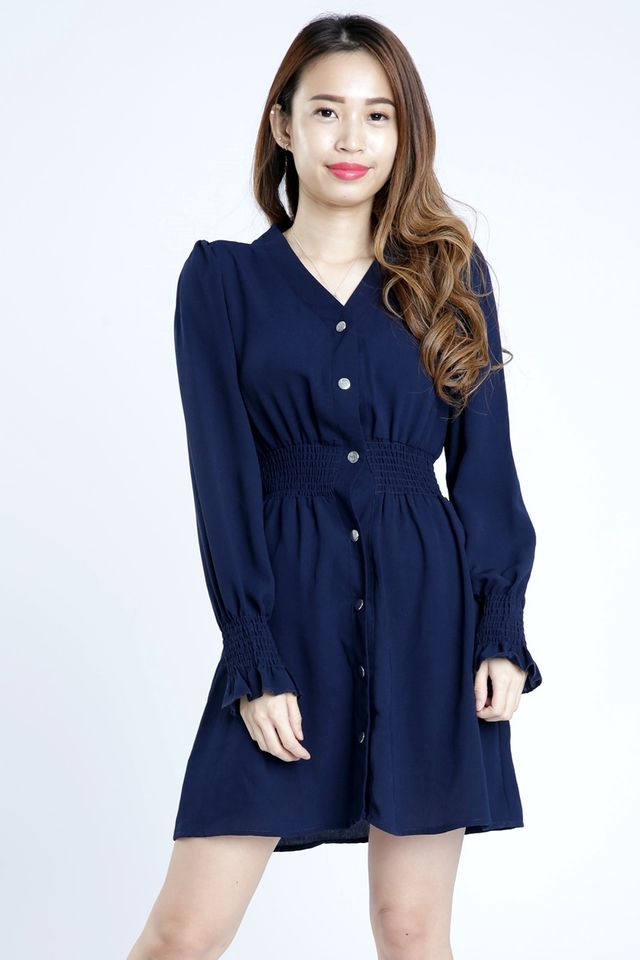 SG IN STOCK - YUNICE LONG SLEEVE BUTTON DRESS IN NAVY