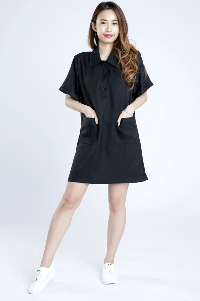 SG IN STOCK - JANICE SHIFT DRESS IN BLACK